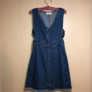 Jean dress w/ buttons and criss/cross sides PACSUN